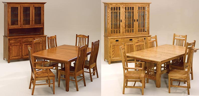 Amish Woodworking Handcrafted Furniture Made In The USA - Custom dining room table and chairs
