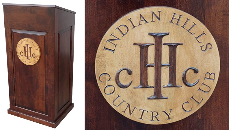 indian hills custom podium with hand carved logo