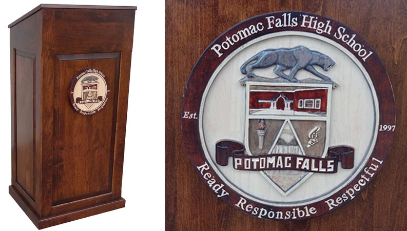 potomac falls custom podium with hand carved logo